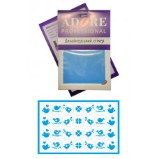 Стикер для дизайна ногтей - Птички - голубой
